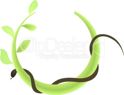 Concept illustration of branch at green leaf and snake