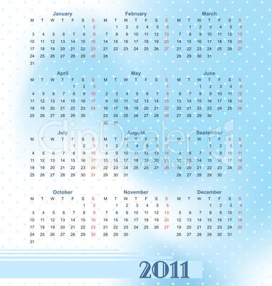European calendar 2011 in style of techno