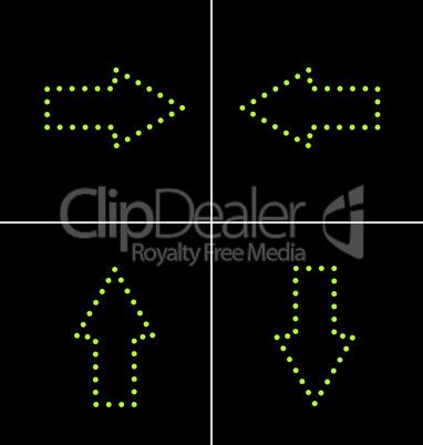 Illustration set elements of green diode arrow for design