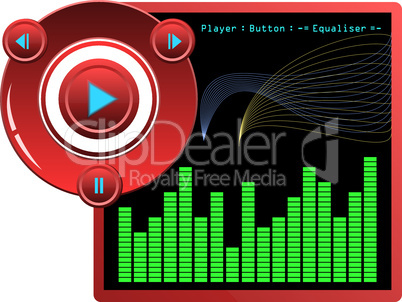 Illustration web template music player skin