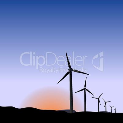 Realistic illustration wind generators of sunrise