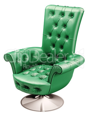 Green office chair with clipping path 3d