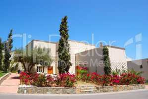 Luxury villa decorated with flowers, Crete, Greece