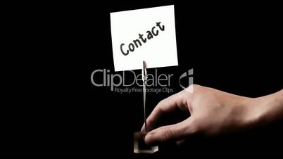 contact.  written on white