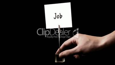 job.  written on white