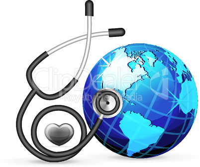 Stethoskop und Globus