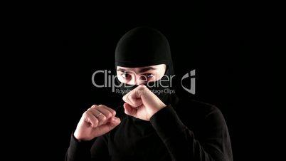 ready to fight ninja on black background