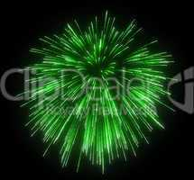 Celebration: green festive fireworks