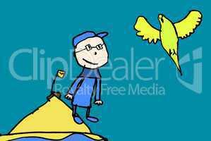 Der kleine Vogelkundler auf der Insel/The little bird watchers to the island