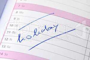 """Kalendereintrag """"holidy"""""""