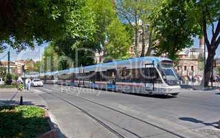 Modern tram on city street
