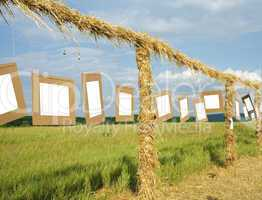 Gallery in the field with empty frames
