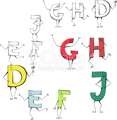 Set of cartoon style letters E, F, J, G, H, D