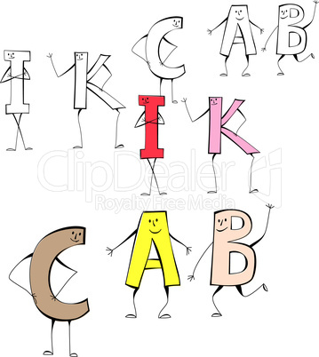 Set of cartoon style letters I, K, C, A, B
