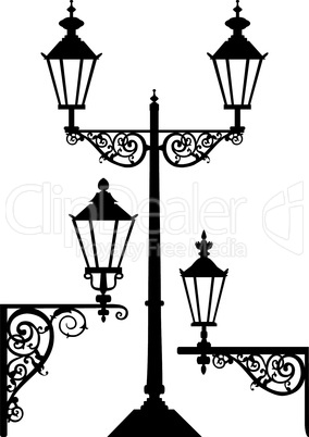 Set of silhouettes of lanterns or street lamps