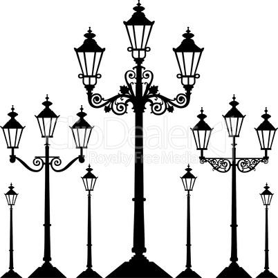 Set of antique street light lamps