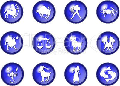 sternzeichen buttons blau