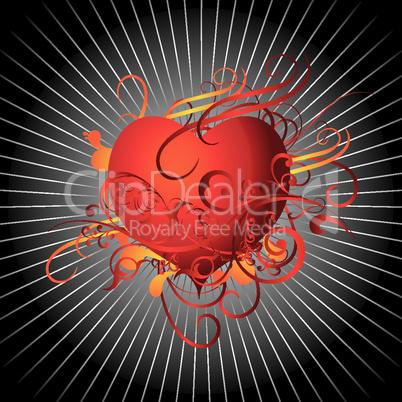 Abstraktes Herz auf schwarz