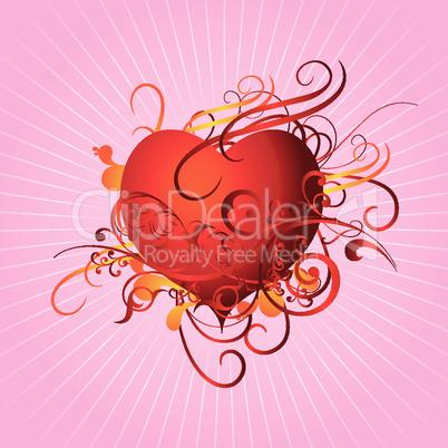 Abstraktes Herz auf rosa