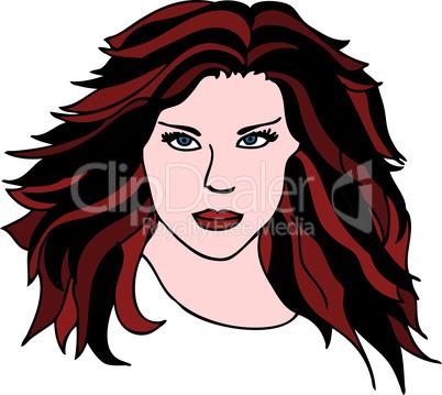 Frau Porträt Illustration brünett
