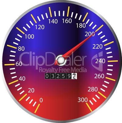 Tachometer blau-rot