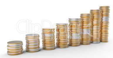 Financial Progress: golden and silver coins stacks