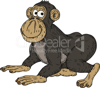 Vector illustration of a cheeky cartoon monkey