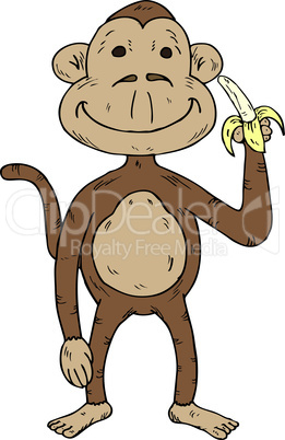 Vector illustration of a cartoon monkey holding a banana