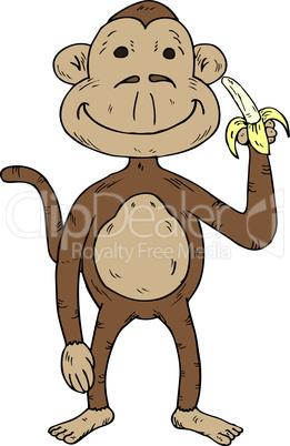 Vector illustration of a cartoon monkey holding a banana