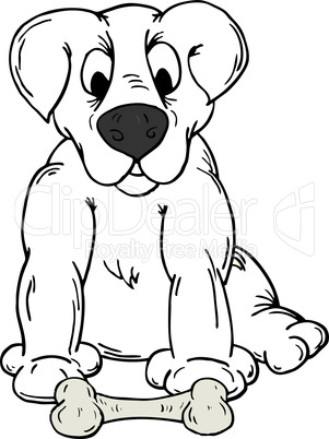 Vector illustration of a dog with a bone