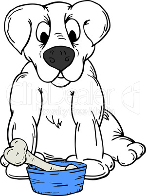 Vector illustration of a dog with a bone in a bowl