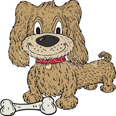 Cartoon Dog and Bone