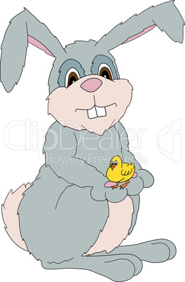 vector illustration of an easter bunny holding a young chick