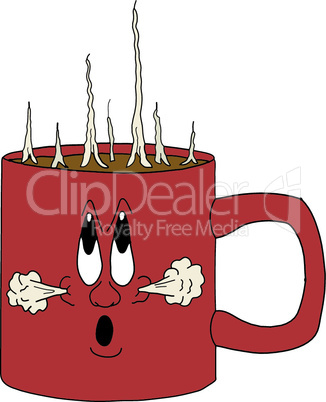 vector illustration of a smiling hot cup of coffee