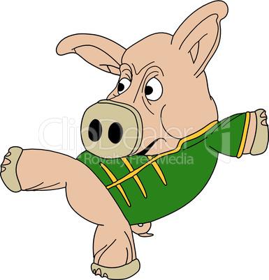 Kick boxing pig