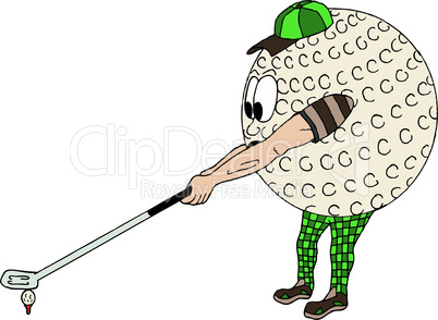 Vector illustration of a comic golf ball, part of a sports series