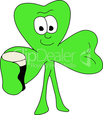 Vector illustration of a smiling 3 leafed clover with a beer
