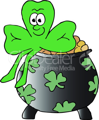 Vector illustration of a smiling 3 leafed clover sitting on a pot of gold