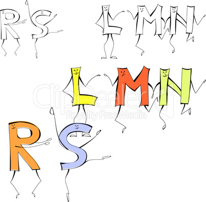 Set of cartoon style letters L, M, N, R, S