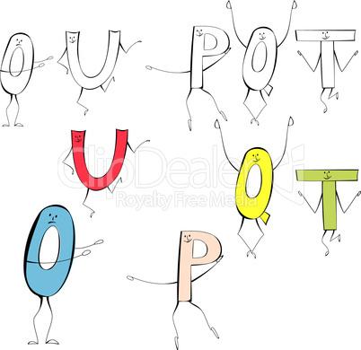 Set of cartoon style letters U, O, P, Q, T