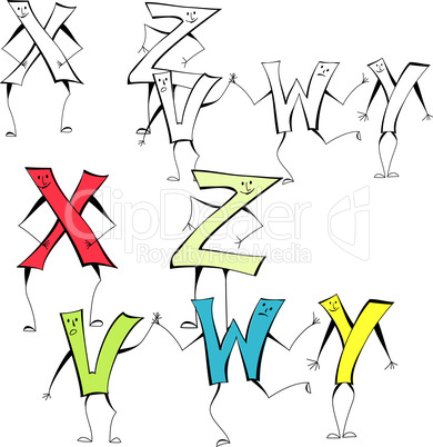 Set of cartoon style letters X, Z, V, W, Y