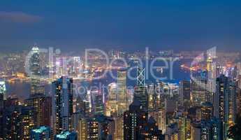 Hong Kong at night, view from Victoria Peak