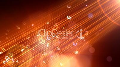 ABCDE Explosion over Orange Background