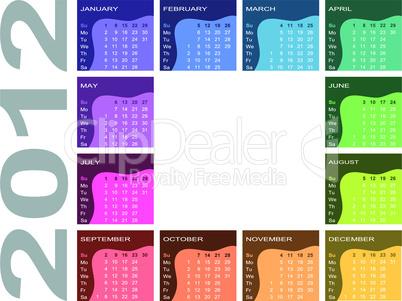 Farbiger Jahreskalender 2012 - englisch (Woche beginnt mit Sonntag)