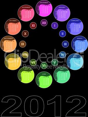 Farbiger Kalender 2012 mit kreisförmig angeordneten Monaten (englisch - Woche beginnt mit Sonntag)