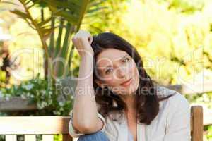 Portrait of a pretty woman in the garden