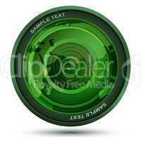 camera lens with map