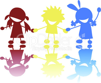 Happy little children holdin hands in colors.eps