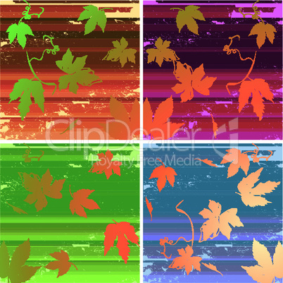 Collection of backgrounds with grunge stripes and leaves.eps