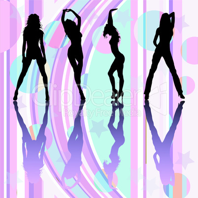 Dancing girls silhouettes on discoteque atmosphere.eps